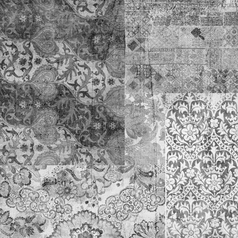 Fundo floral do scrapbook do vintage sujo ilustração royalty free