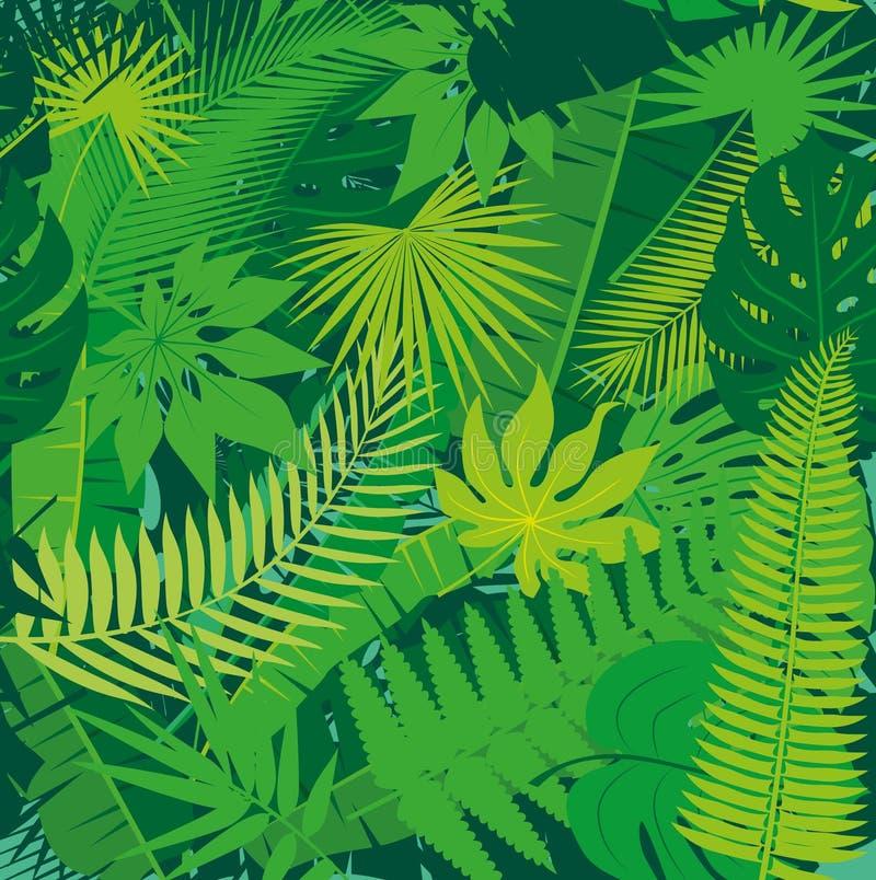 Fundo floral do teste padrão da selva tropical sem emenda bonita com folhas de palmeira diferentes ilustração stock