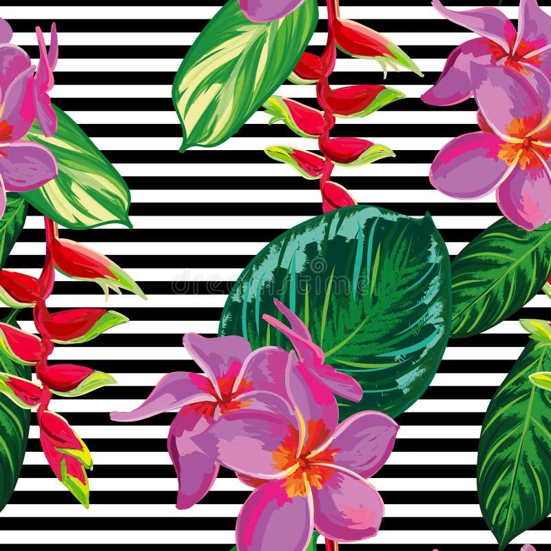 Fundo floral do teste padrão da selva tropical sem emenda bonita com folhas de palmeira e flores ilustração do vetor