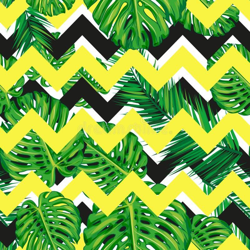 Fundo floral do teste padrão da selva tropical sem emenda bonita com folhas de palmeira Textura geométrica listrada abstrata ilustração do vetor