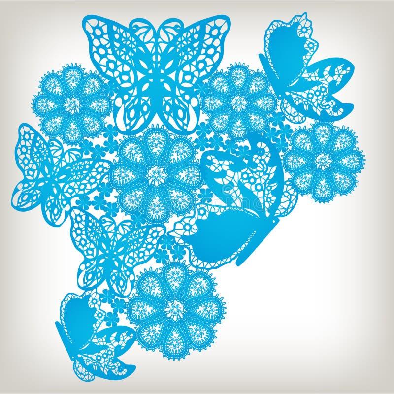 Fundo floral do teste padrão do laço ilustração royalty free