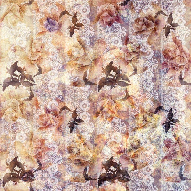 Fundo floral do teste padrão do laço das rosas velhas do Grunge ilustração royalty free