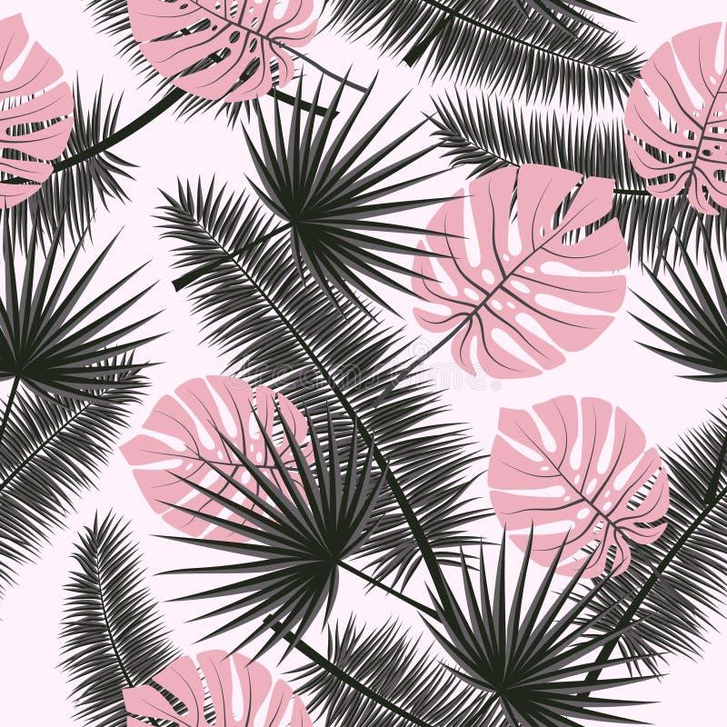 Fundo floral do teste padrão do verão do vetor sem emenda bonito com folhas de palmeira tropicais Aperfeiçoe para papéis de pared ilustração do vetor