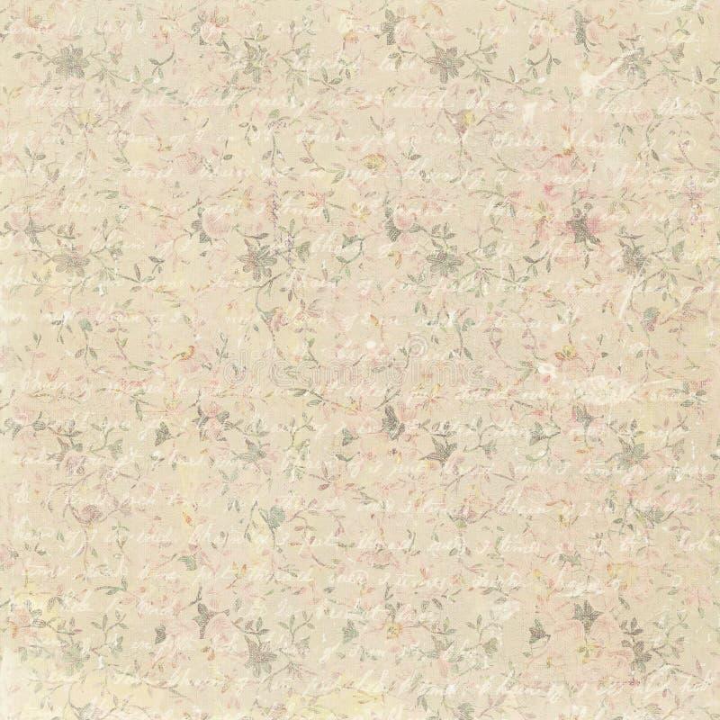 Fundo floral do teste padrão do vintage com texto antigo ilustração stock