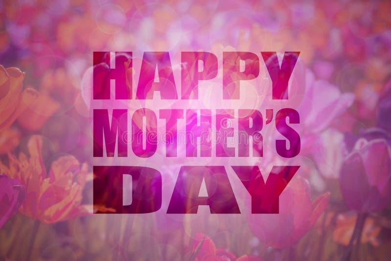 Fundo floral do texto feliz do dia de mães ilustração stock