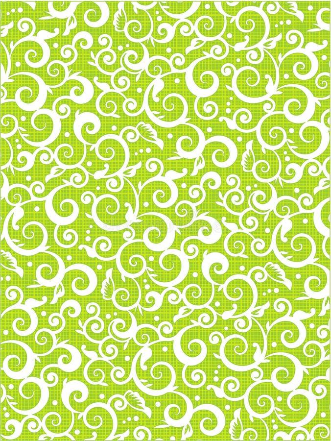 Fundo floral do verde do teste padrão dos rolos ilustração stock