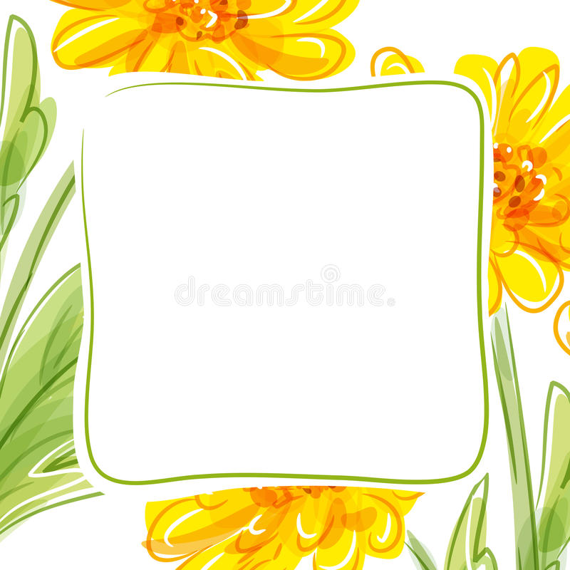 Fundo floral do vetor com flores amarelas ilustração royalty free