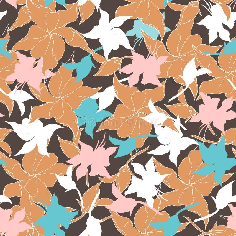 Fundo floral do vintage com folhas bege Textura de Borgonha para telas e telhas ilustração do vetor