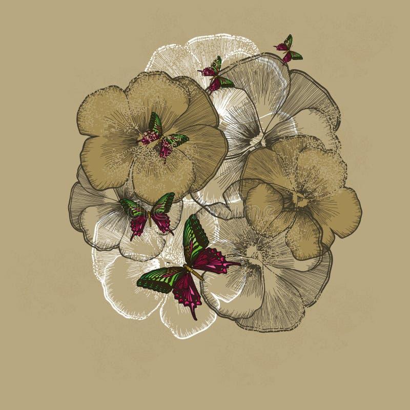 Fundo floral do vintage com pansies Ilustração do vetor ilustração royalty free