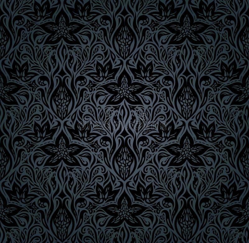 Fundo floral do vintage das flores ornamentados pretas ilustração royalty free