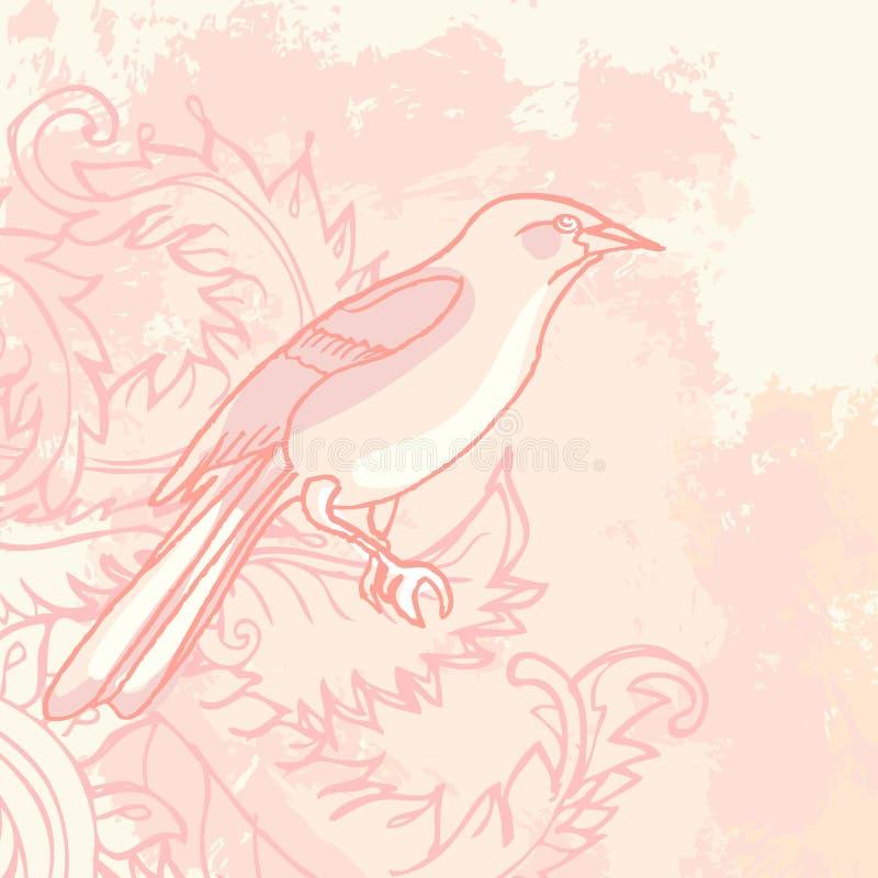 Fundo floral do vintage de Grunge com pássaro ilustração do vetor