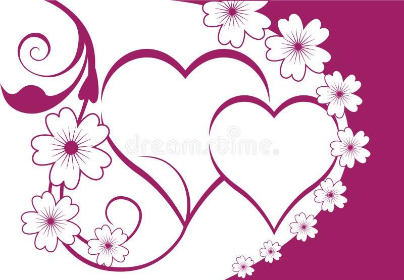 Fundo floral dos corações ilustração stock