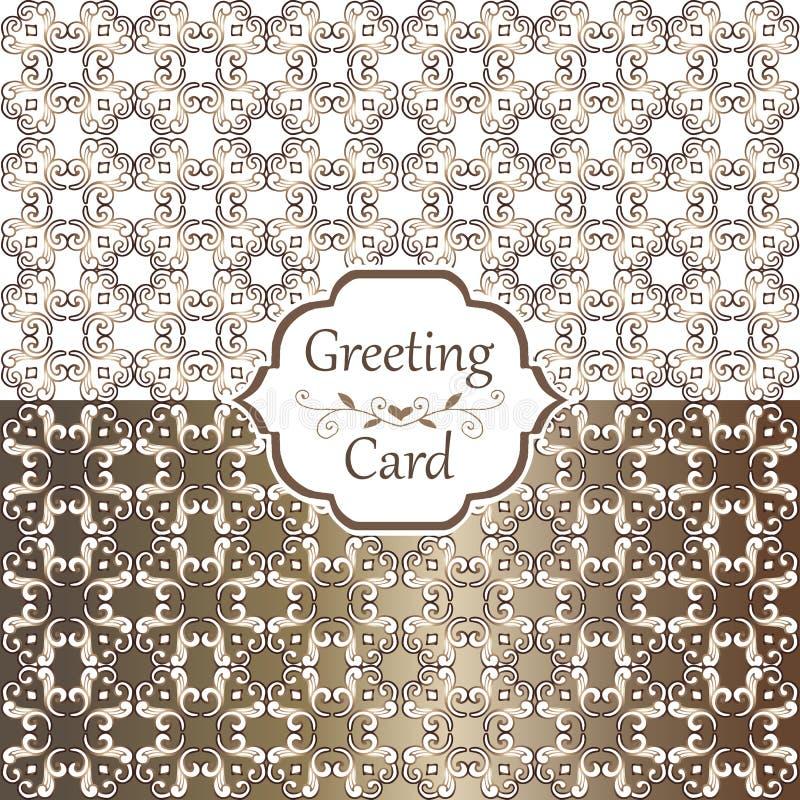 Fundo floral dourado elegante Fundo dourado para cartões, matéria têxtil do vintage, papel de envolvimento ilustração do vetor