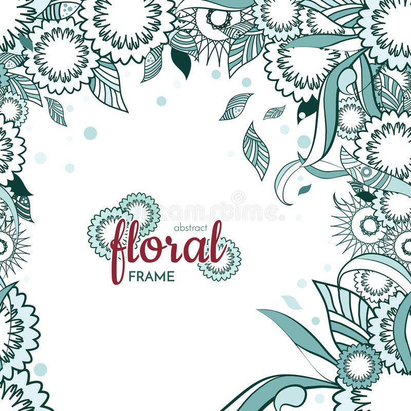Fundo floral e decorativo do quadro do artigo da mola com flores abstratas e monochrome ilustração stock