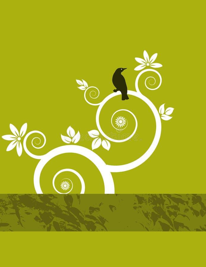 Fundo floral e pássaro ilustração royalty free