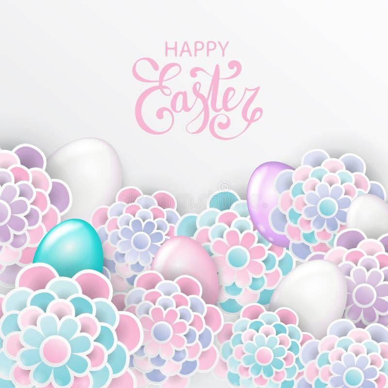 Fundo floral elegante da Páscoa feliz com as flores 3d de papel ilustração do vetor