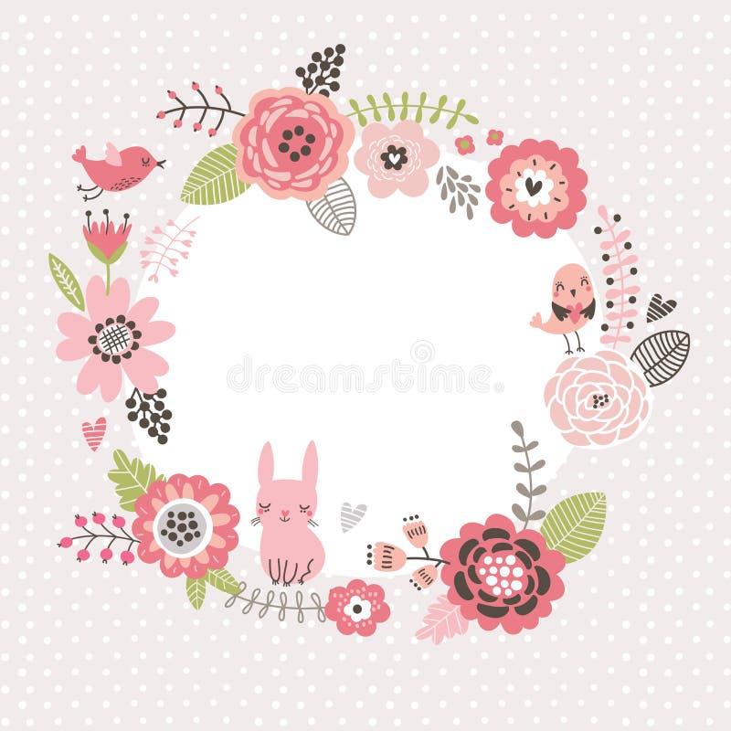 Fundo floral Envolva o quadro com pássaros bonitos e uma lebre Cartão das flores ilustração stock