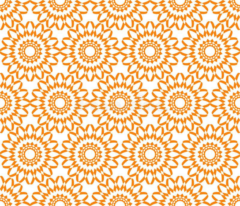 Fundo floral geométrico sem emenda do vetor do teste padrão com a laranja retro da arte do vintage colorido do sumário do projeto ilustração royalty free