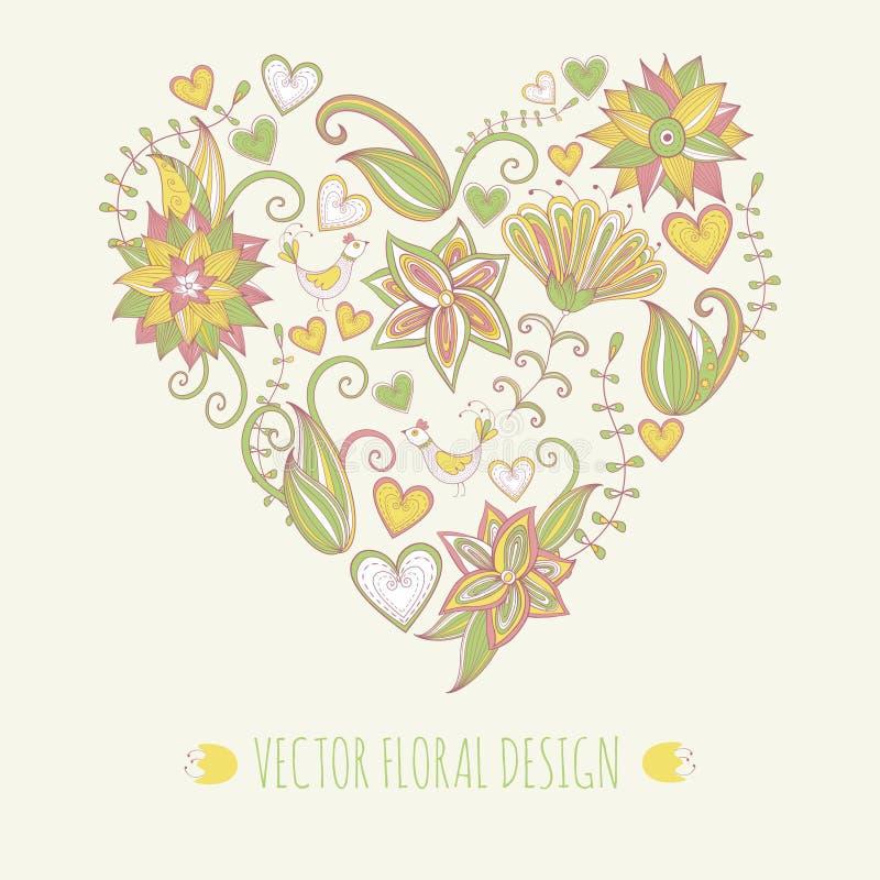 Fundo floral Hand-drawn Forma do coração feita das folhas e das flores ilustração stock