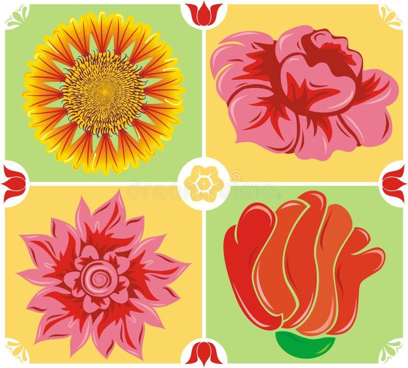 Fundo floral, jogo do ícone, vetor ilustração do vetor