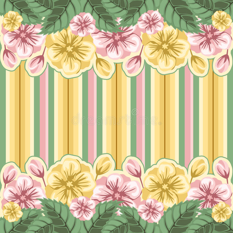 Fundo floral listrado ilustração stock