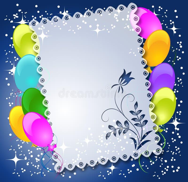 Fundo floral mágico com balões ilustração do vetor