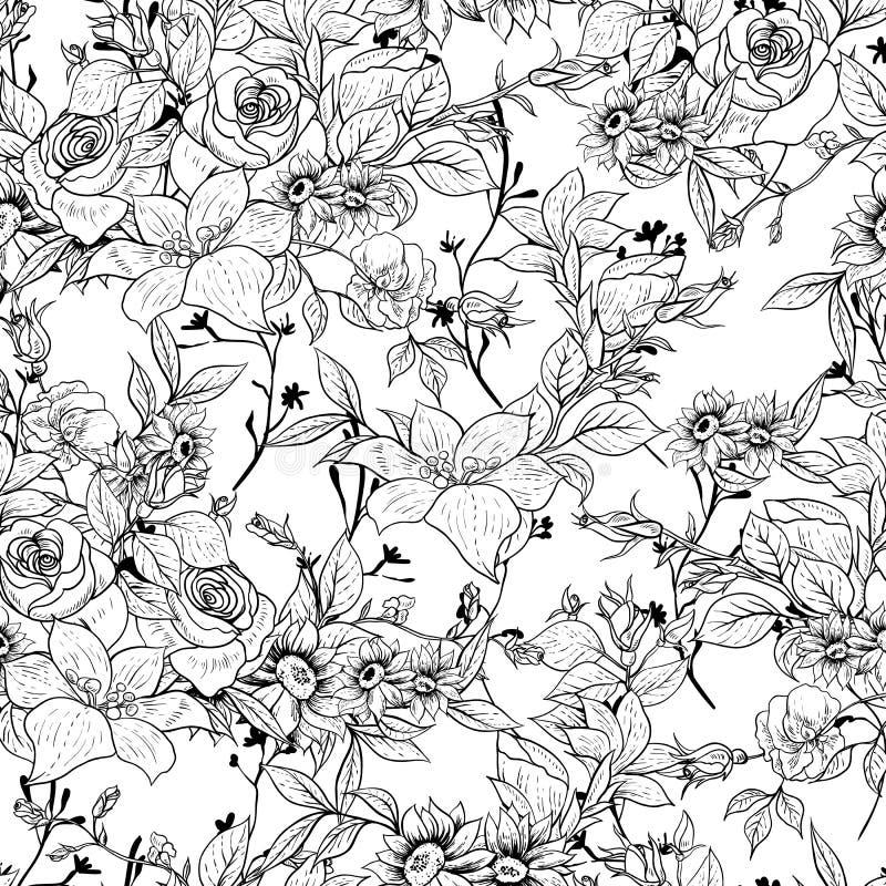 Fundo floral monocromático sem emenda com rosas ilustração do vetor