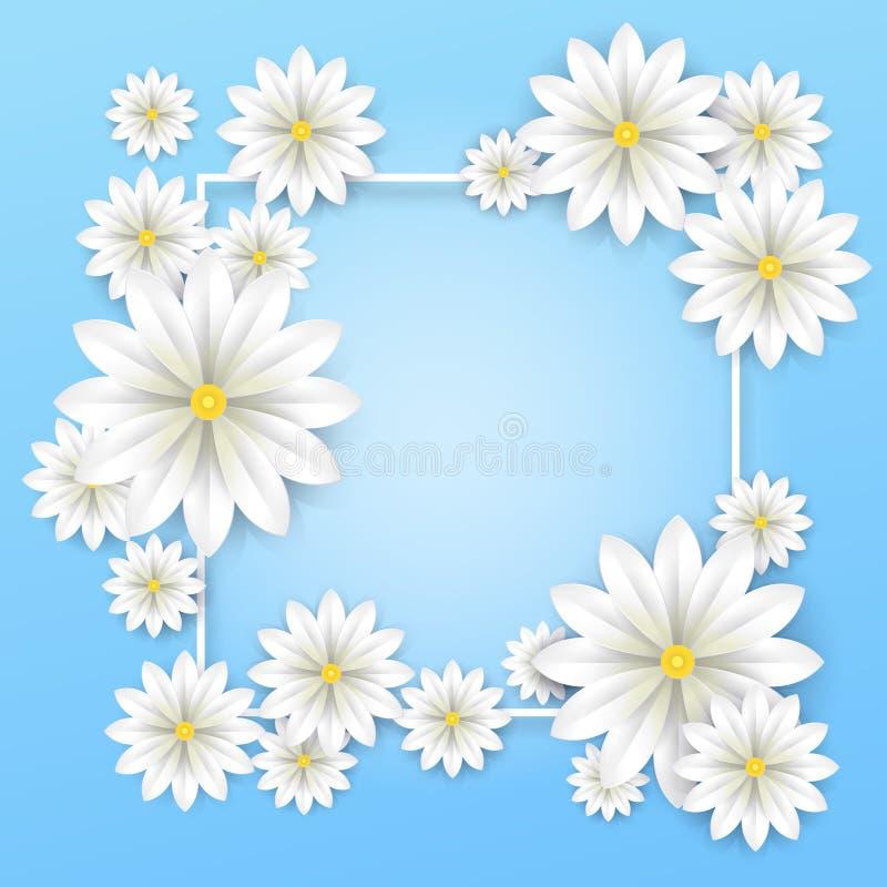 Fundo floral O Livro Branco floresce o cartaz do quadro com fundo bonito da flor Ilustração do vetor ilustração do vetor