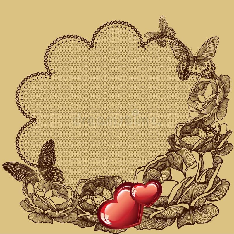 Fundo floral para o dia de Valentim, ilustração do vetor ilustração stock