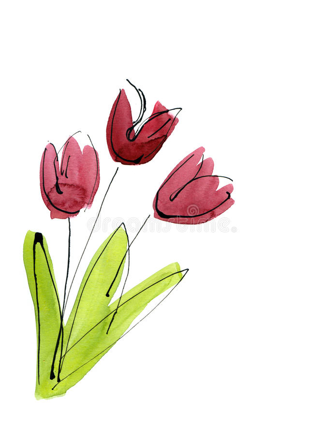 Fundo floral pintado sumário ilustração royalty free