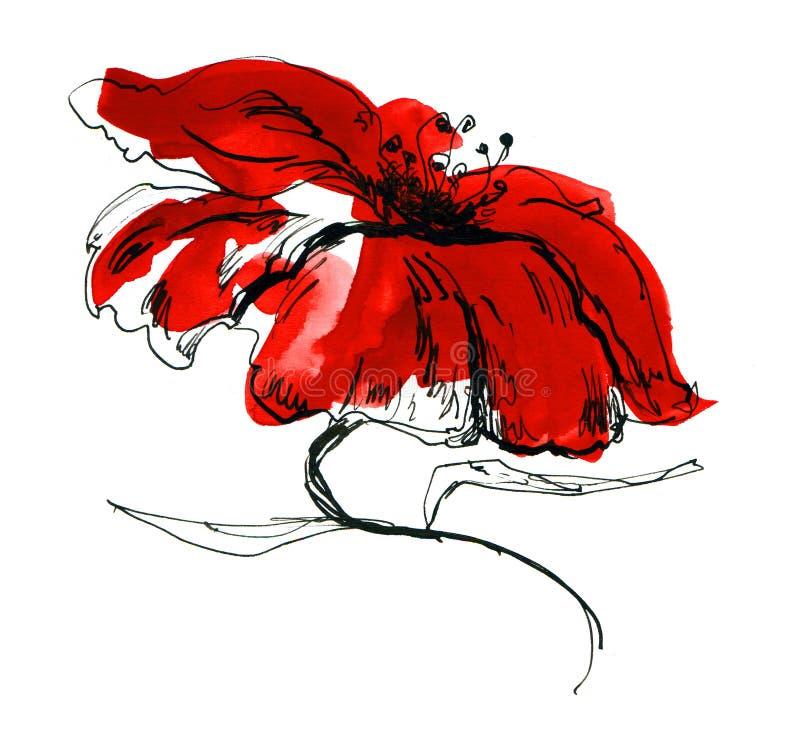 Fundo floral pintado sumário ilustração do vetor