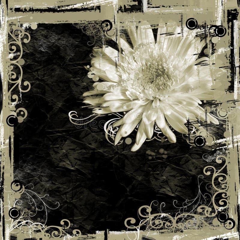 Fundo floral preto de Tan ilustração do vetor