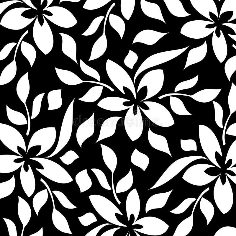 Fundo floral preto e branco ilustração royalty free