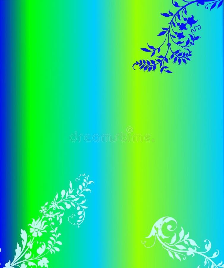 Fundo floral protegido do verde azul ilustração do vetor