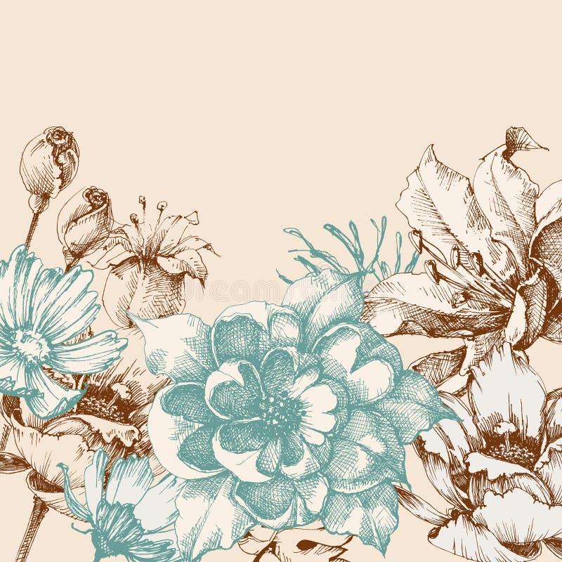 Fundo floral retro ilustração stock