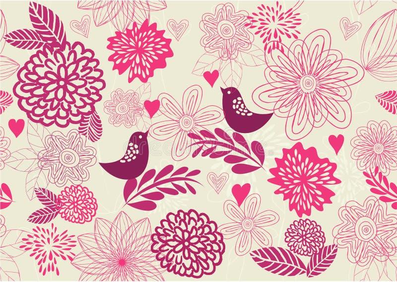 Fundo floral retro sem emenda no vetor ilustração royalty free