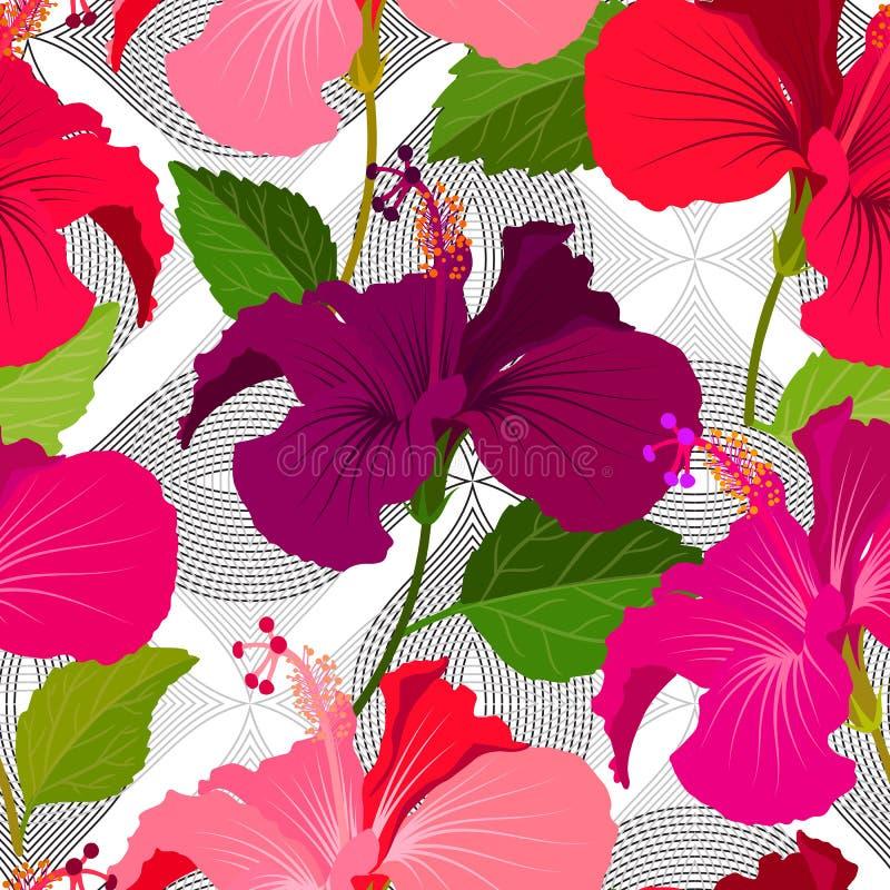 Fundo floral sem emenda bonito do teste padrão da selva Fundo brilhante da cor das flores tropicais Flor do hibiscus realística ilustração do vetor