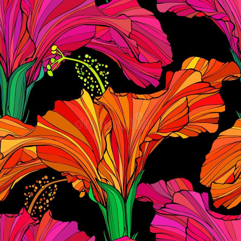 Fundo floral sem emenda bonito do teste padrão da selva Fundo brilhante da cor das flores tropicais Flor do hibiscus realística ilustração stock