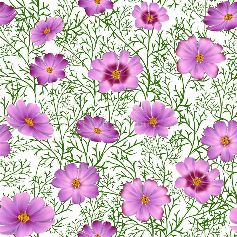 Fundo floral sem emenda com as flores selvagens cor-de-rosa bonitas ilustração royalty free