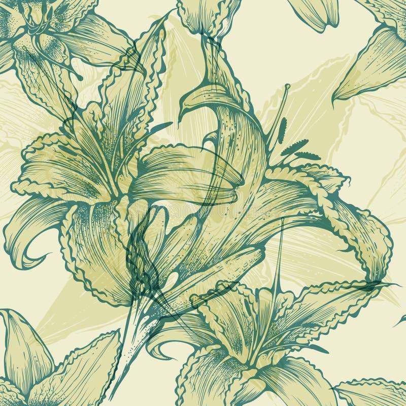 Fundo floral sem emenda com lírios de florescência, h ilustração do vetor