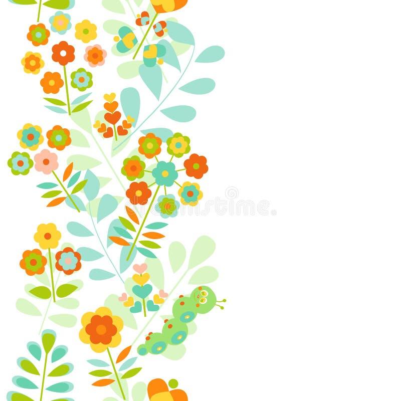 Fundo floral sem emenda da beira ilustração royalty free
