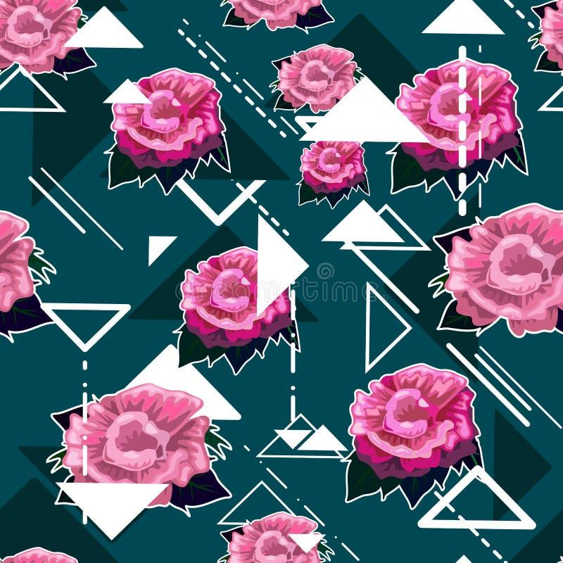 Fundo floral sem emenda do teste padrão com rosas cor-de-rosa ilustração stock