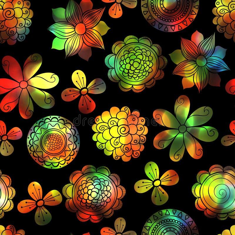 Fundo floral sem emenda mágico com flores brilhantes ilustração royalty free