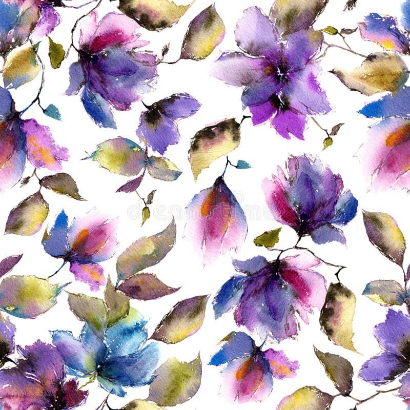 Fundo floral sem emenda Teste padrão de flores roxo Pétalas florais transparentes Molde do teste padrão de matéria têxtil ilustração royalty free