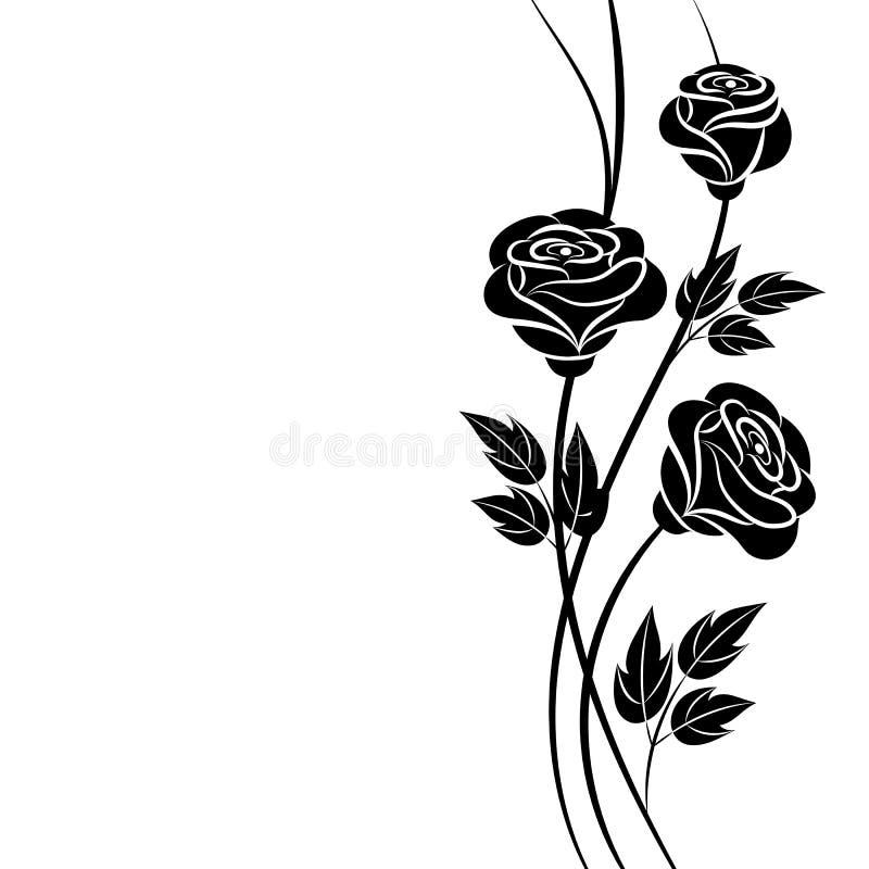 Fundo floral simples em preto e branco ilustração stock