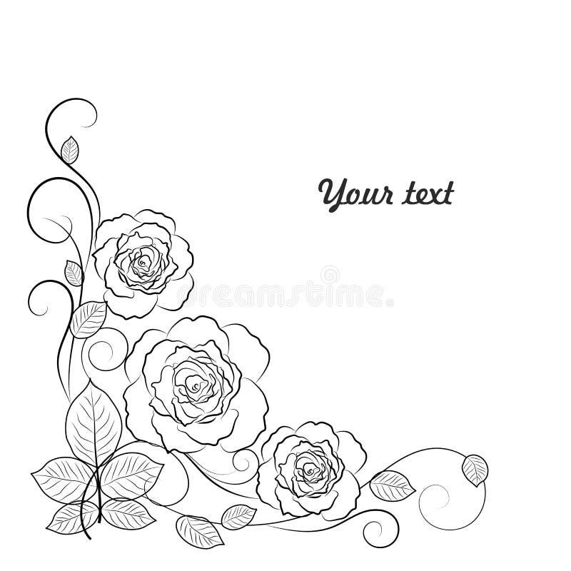 Fundo floral simples em preto e branco com ilustração do vetor