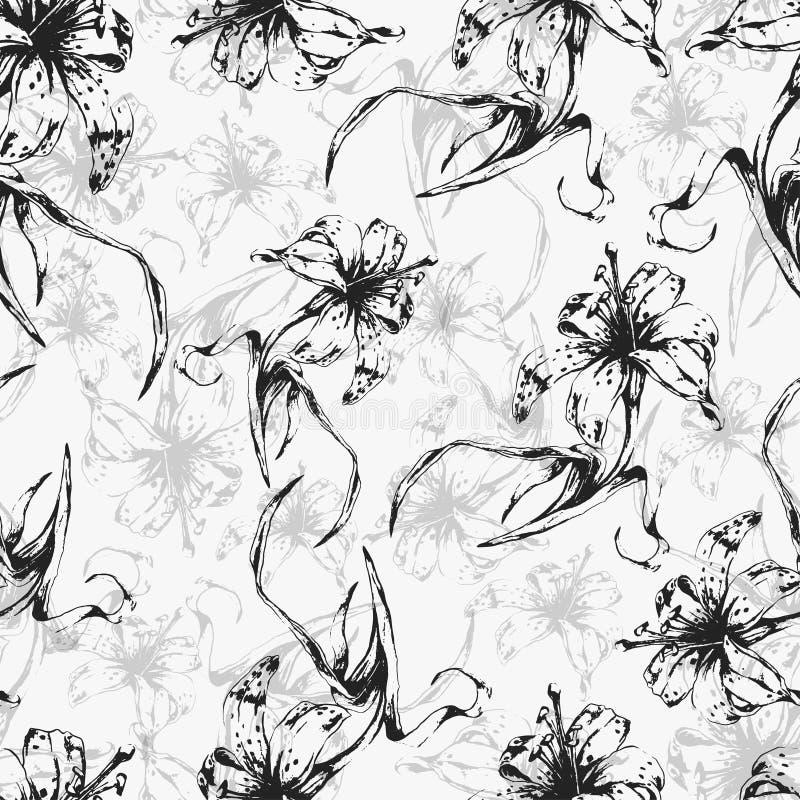 Fundo floral, teste padrão sem emenda com lírios das flores ilustração do vetor