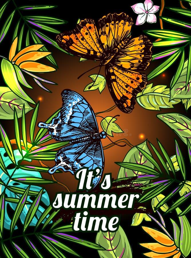 Fundo floral tropical com animal ilustração do vetor