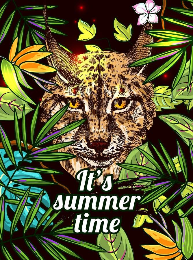 Fundo floral tropical com animal ilustração stock