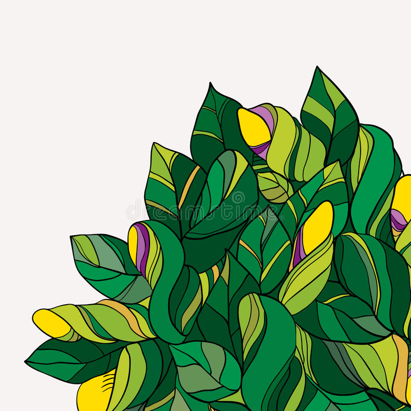 Fundo floral verde e amarelo da garatuja imagem de stock royalty free